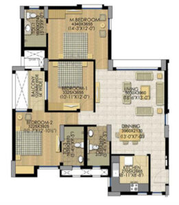 Layout Plan of Your 3BHK Home